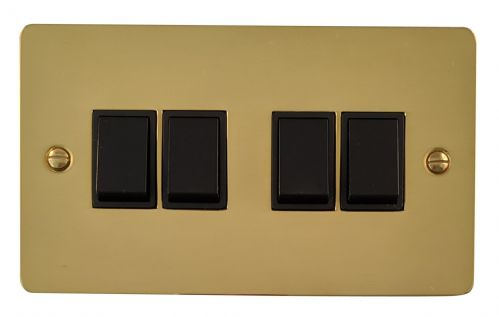 G&H FB4B Flat Plate Polished Brass 4 Gang 1 or 2 Way Rocker Light Switch